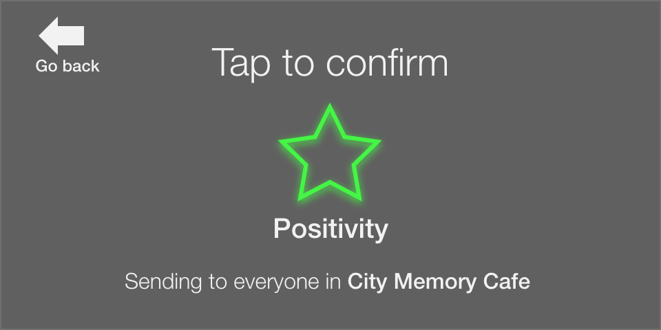 Confirmation screen. Tap to confirm. Positivity. Sending to everyone in City Memory Cafe