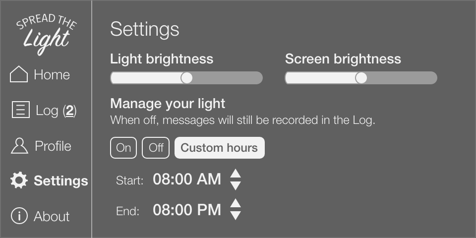 Settings screen shows options for light brightness, screen brightness, and option to set hours when light is on or off.