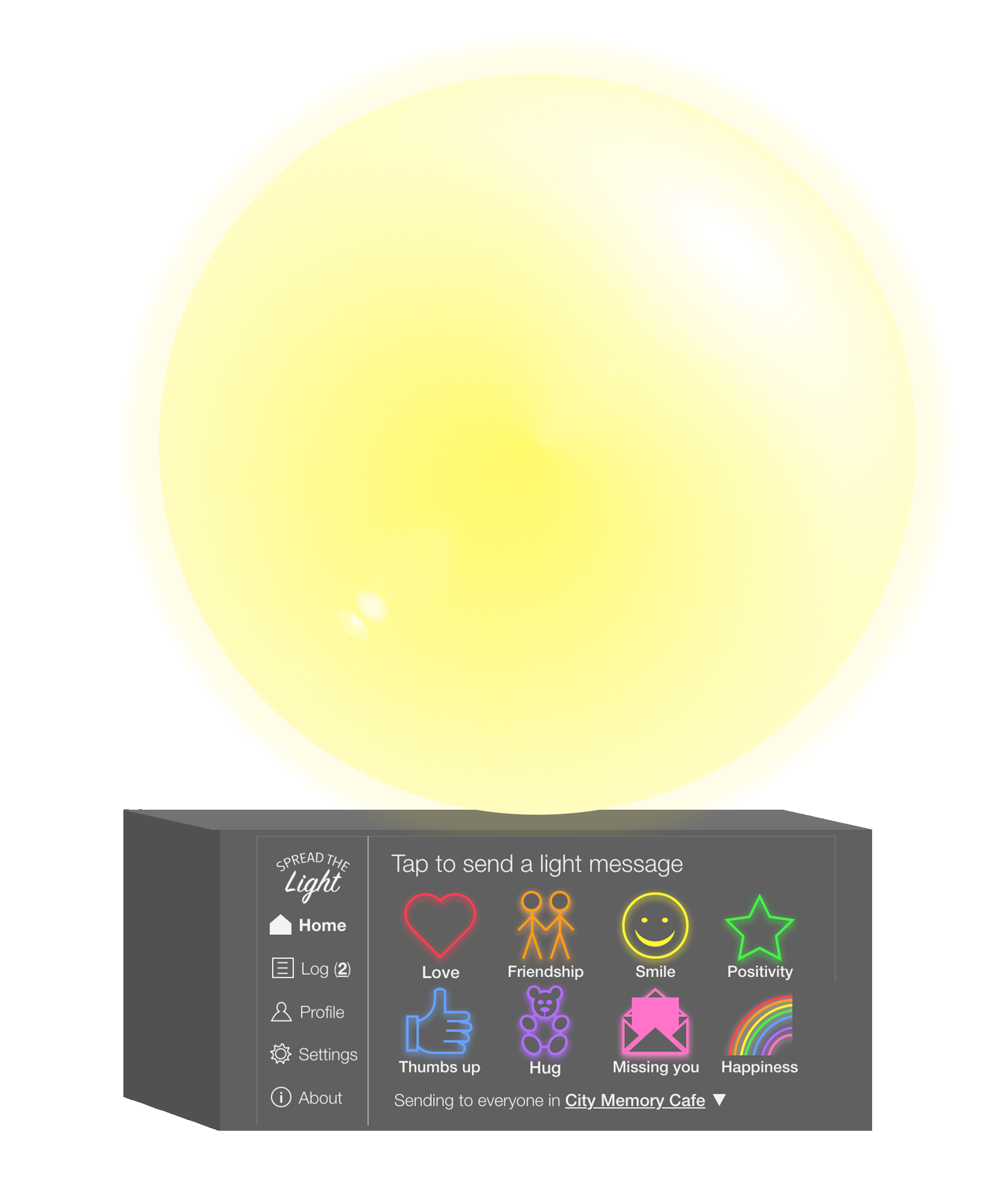 Spread the light device with yellow light meaning Smile message was received.