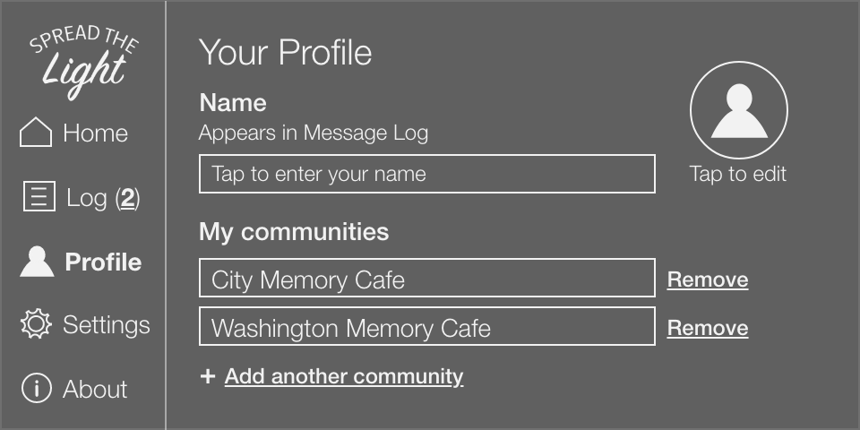 Profile screen allows users to edit their photo, name, and communities.